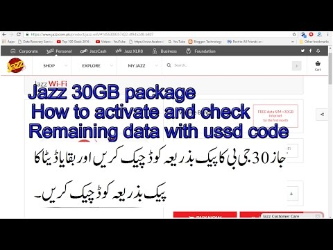 how to activate jazz 3g package monthly bundle and check remaining data ussd code in detail