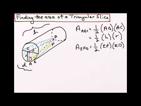 How to find the volume of water in a tilted cylinder - part 1
