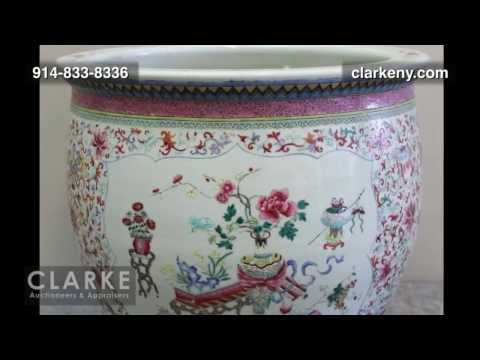 Chinese Post Auction | Enamel Decorated Fish Bowl | Asian | Clarke Auction Gallery