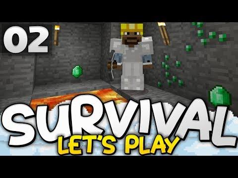 EMERALDS ALREADY?!? - Survival Let's Play Ep. 02 - Minecraft Bedrock (PE W10 XB1)