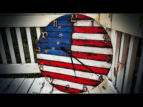 American Flag Wall Clock, Hand Made, Distressed, Rustic