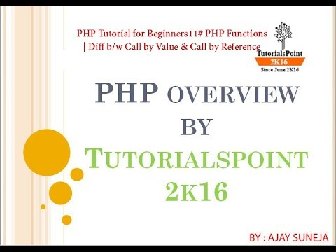 PHP Tutorial for Beginners11# PHP Functions | Diff b/w Call by Value & Call by Reference??