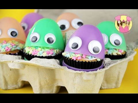 SURPRISE EASTER EGG CUPCAKE CREATURES - easy treat for your easter party  - how to baking