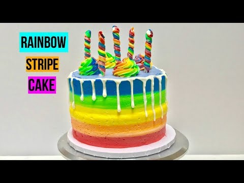 RAINBOW STRIPE CAKE - Baking With Ryan Episode 71