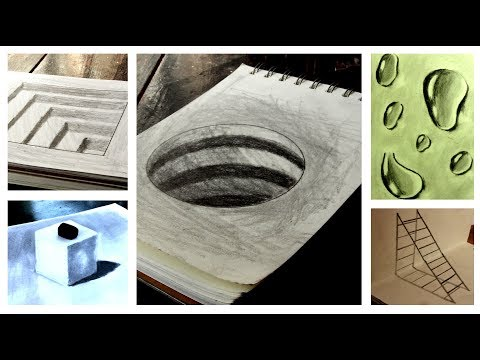 How to Draw 5 Simple 3D Optical Illusions Painting