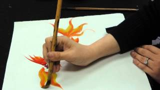 Chinese brush painting basics - gold fish
