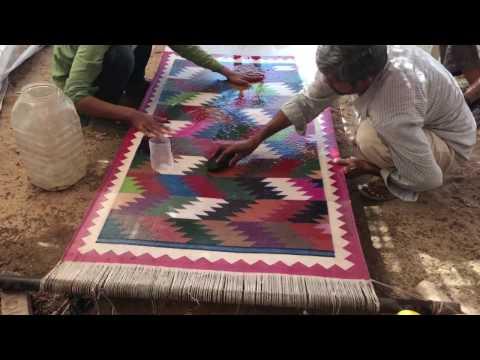 Cotton Dhurrie wash video .Ranbanka durry Udhyog
