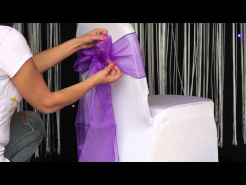 How to: various ways to tie an organza sash to a chair cover