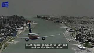 Hudson River Plane Landing (US Airways 1549) Animation with Audio
