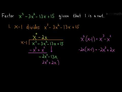 Factoring a Cubic Polynomial (Long Division)