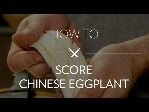 Scoring Chinese Eggplant (Cross-Hatch)