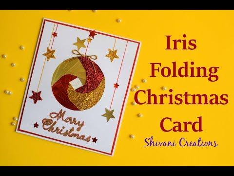 Iris Folding Christmas Ornament Card/ Handmade Greeting Card for Christmas