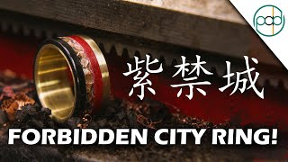 Making the Forbidden City Ring out of Gold, Oxidized Copper, Ebony, and Red Glowstone