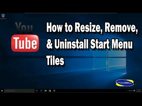 WIndows 10 Resize, Remove, Uninstall Live Tiles in Start Menu Video