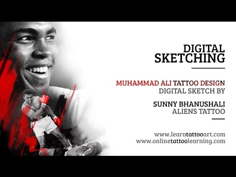 Digital Sketching - Muhammed Ali Portrait Tattoo Design - Time Lapse