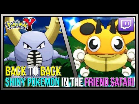 Shiny Pinsir And Shiny Ledyba! BACK TO BACK FRIEND SAFARI SHINY POKEMON in Pokemon Y!