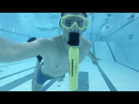 Testing A small scuba tank you can use under water for 3:30 min