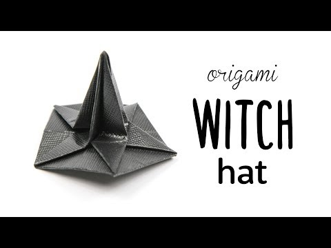 Origami Witch Hat Tutorial 👻 Halloween DIY 👻 Paper Kawaii