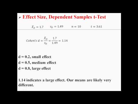 Effect Size for Dependent Samples t-Test
