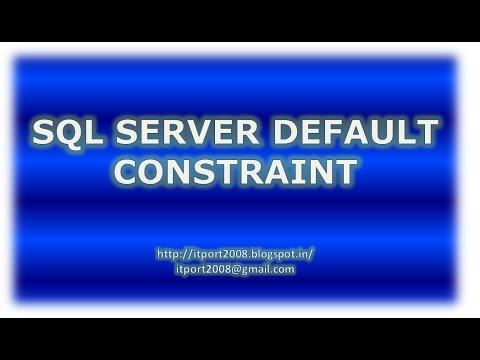 SQL Server Default Constraint