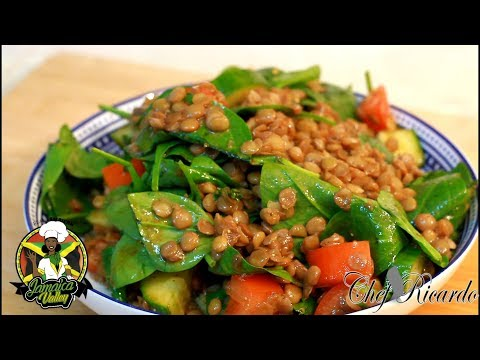 Green Lentils & Baby Spinach Salad (Jamaican Chef) | Recipes By Chef Ricardo