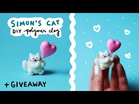 DIY Simon's Cat + GIVEAWAY! 🐈 💖 Polymer Clay Valentines Day Tutorial