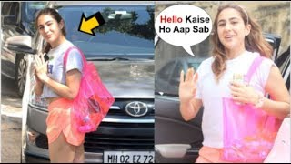 Sara Ali Khan Looks CUTE & BUBBLY When Spotted At The Gym By Media