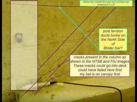 FIU Bridge Collapse failure -  North Side of Canopy, bottom of deck, and bottom of #11