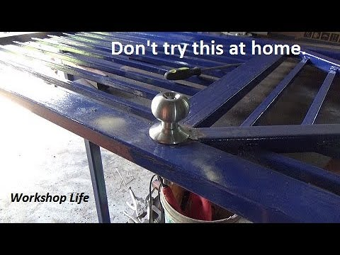 Cutting a round hole in a steel door without a hole-saw.