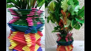 how to make flower pot using icecream sticks