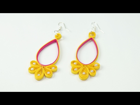 Quilling Earring - Making Yellow Pink Quilled Jhumkas with Beads
