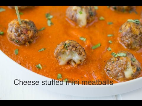 Cheese stuffed mini meatballs