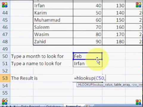 How to use Vlookup, Hlookup   MS Excel 2007 Tutorial in Hindi