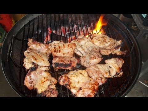 Boneless Skinless Chicken Thighs-Marinated and Grilled on my Weber Jumbo Joe Charcoal Grill