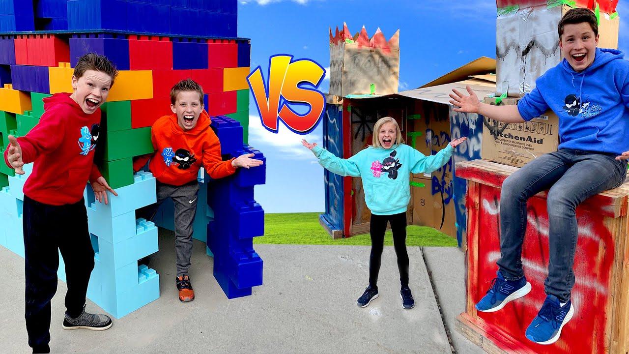 Lego vs Box Fort Building Challenge!