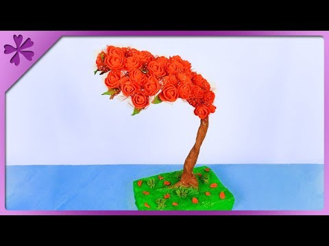 DIY How to make rose tree, Mother's Day gift (ENG Subtitles) - Speed up #488