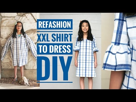 DIY | XXL MEN'S SHIRT TO GIRL'S DRESS W/ BELL SLEEVES REFASHION