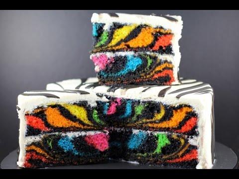 RAINBOW ZEBRA CAKE   How to Make a Surprise Inside Zebra Cake   My Cupcake Addiction