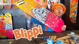 Learning How To Skateboard With Blippi | 45 Min Blippi Videos | Educational Videos For Kids