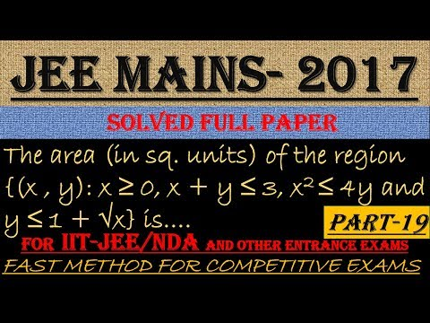 JEE MAINS - 2017 SOLVED MATHEMATICS Part -19 || ALSO IMPORTANT FOR NDA AND OTHER ENTRANCE EXAMS||