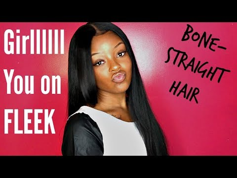 How to get Weave Bone - Straight | Using Fantasia Frizz Buster + H2Pro Flat Iron