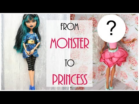 Monster High Doll Repaint - From Monster to Flower Princess - How to Easy DIY Tutorial, Custom BJD