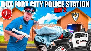 Box Fort Police Station Patrol & Stopping Crime - 24 Hour Box Fort City Challenge Day 2
