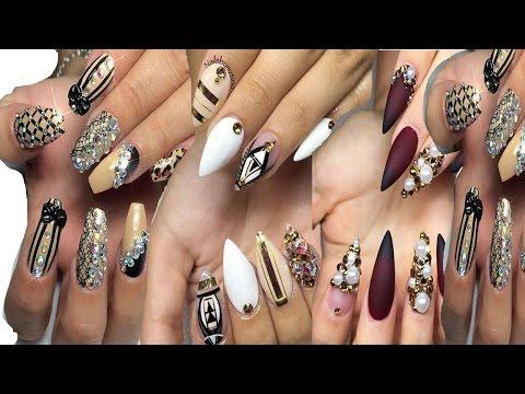 Letest Fashion Acrylic Nails Ladies Flowers Fashion On YouTube videos