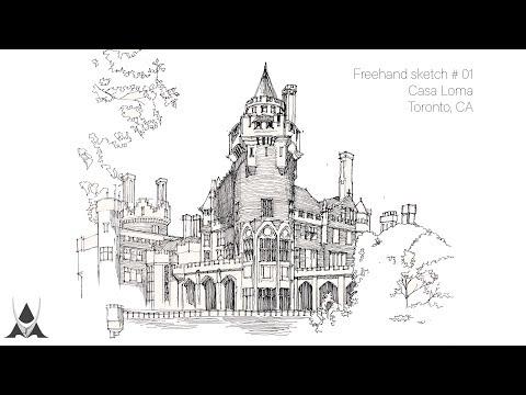 Freehand Architectural Sketch # 01 Casa Loma (Toronto, CA)