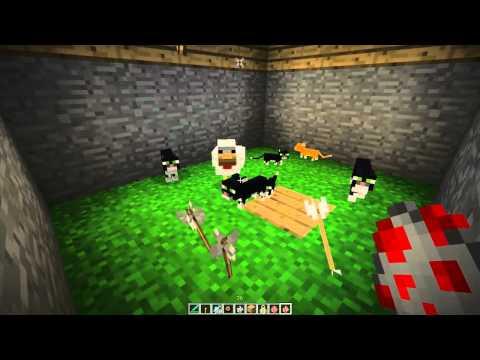 [Minecraft] Baby Ocelot kills a chicken! Cute!