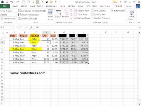 Create an Excel Table With a Specific Style Applied