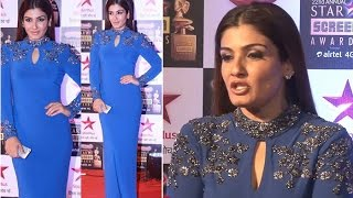 Ever green Raveena Tandon in Blue Tight Gown
