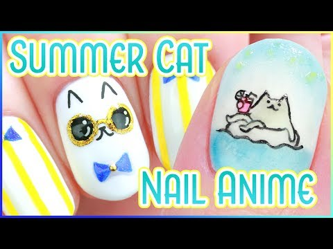 ☆ Summer Cat Nail Art + Nail Animation ☆