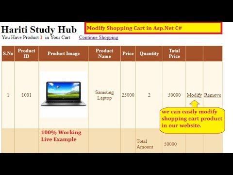 #3 Modify Shopping Cart Details in Asp.Net C# | Hindi | E-Commerce Website | Free Online Class